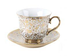 Set 6 cesti ceai Gold Flowers