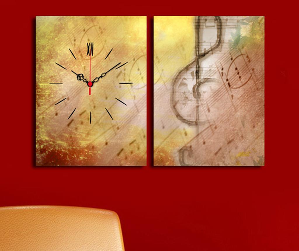 Set 2 tablouri cu ceas Music 30x40 cm