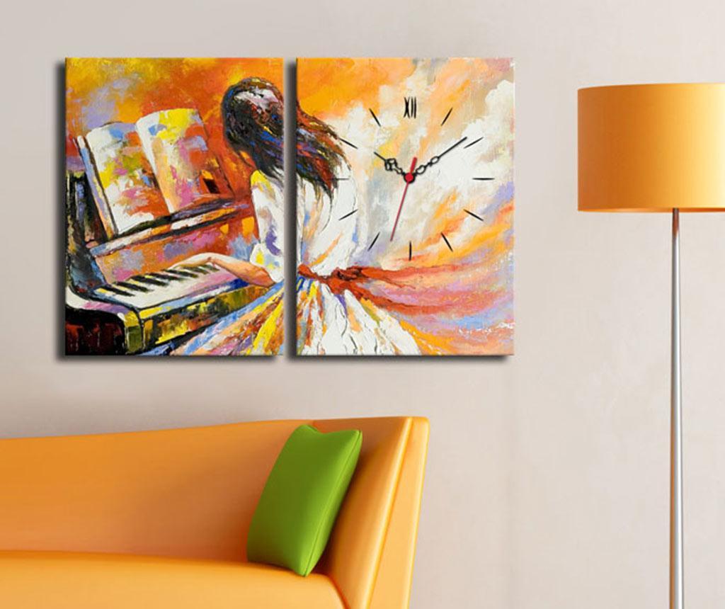 Set 2 tablouri cu ceas Piano Painting