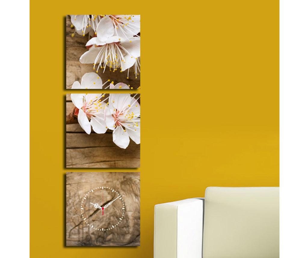 Set 3 tablouri cu ceas Cherry 28x28 cm