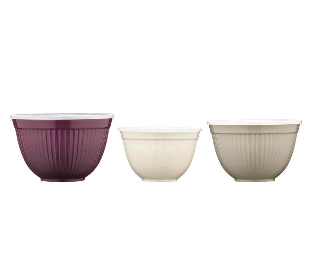 Set 3 boluri cu capac Antique Colours - Premier, Multicolor imagine