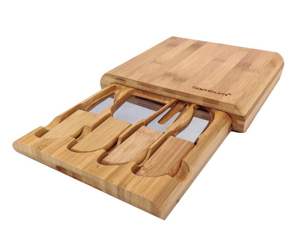 Set 4 cutite pentru branzeturi si tocator Gravyer - bambum