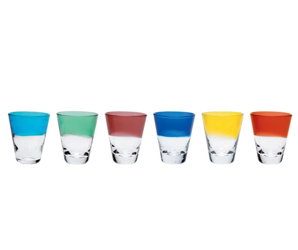 Set 6 pahare shot Colourful Drips 50 ml imagine