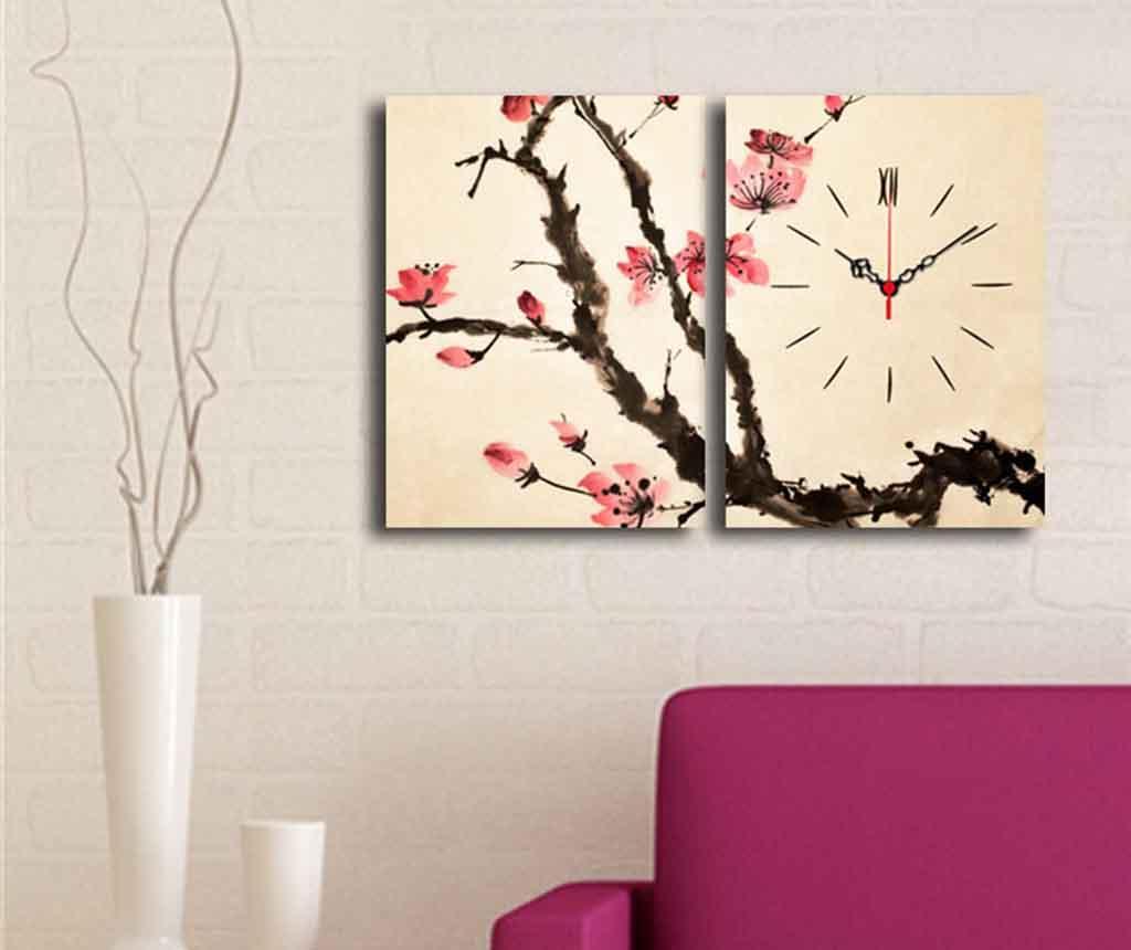 Set 2 tablouri cu ceas Brench 30x40 cm - Clock Art, Roz imagine