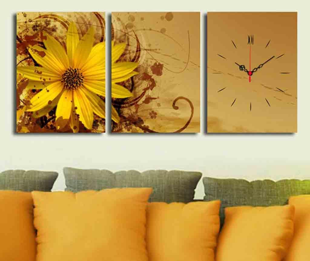 Set 3 tablouri cu ceas Yellow