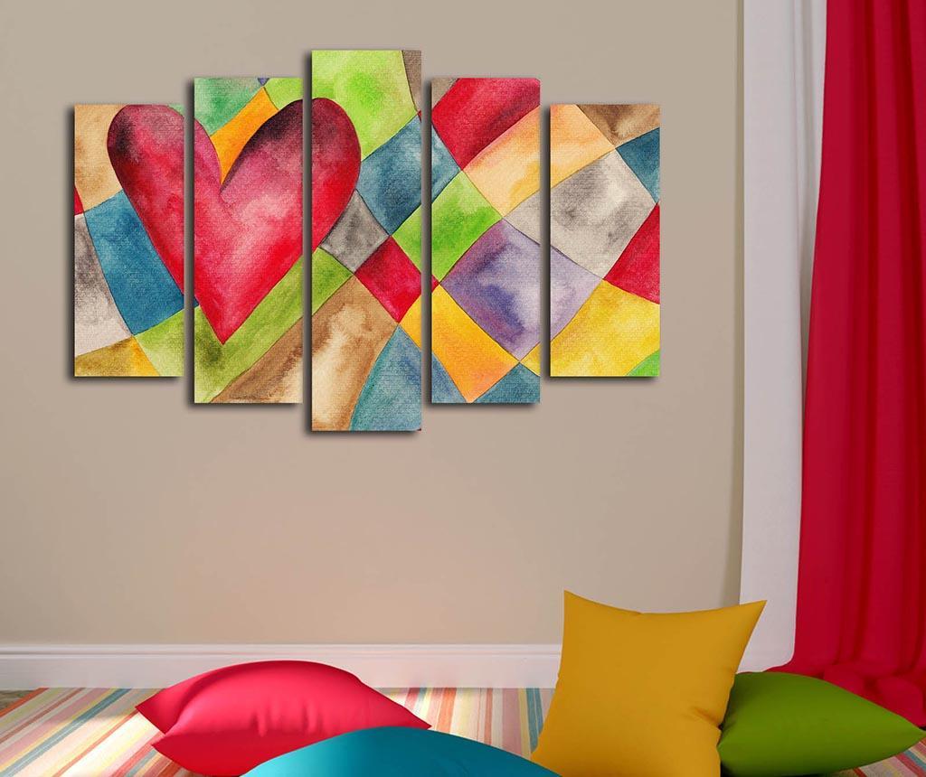Set 5 tablouri Heart - Canvart, Multicolor imagine