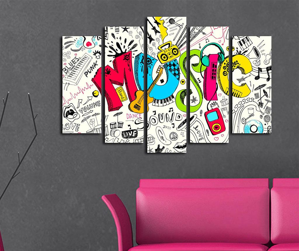 Set 5 tablouri Music - Bonanza, Alb,Multicolor de la Bonanza