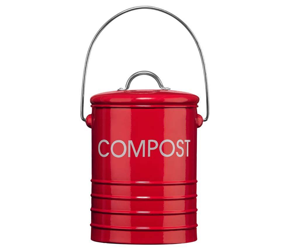 Recipient cu capac pentru compost Ridges Red 2.5 L imagine