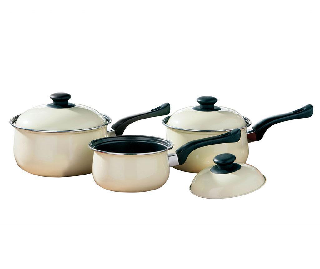 Set 3 cratite cu capac Belly Pan Cream - Premier, Crem