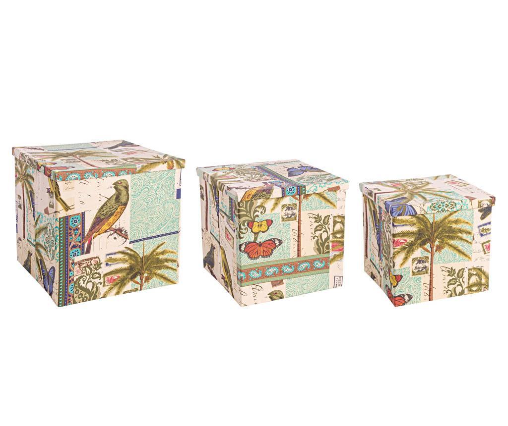 Set 3 cutii cu capac pentru depozitare Cuban Flora imagine