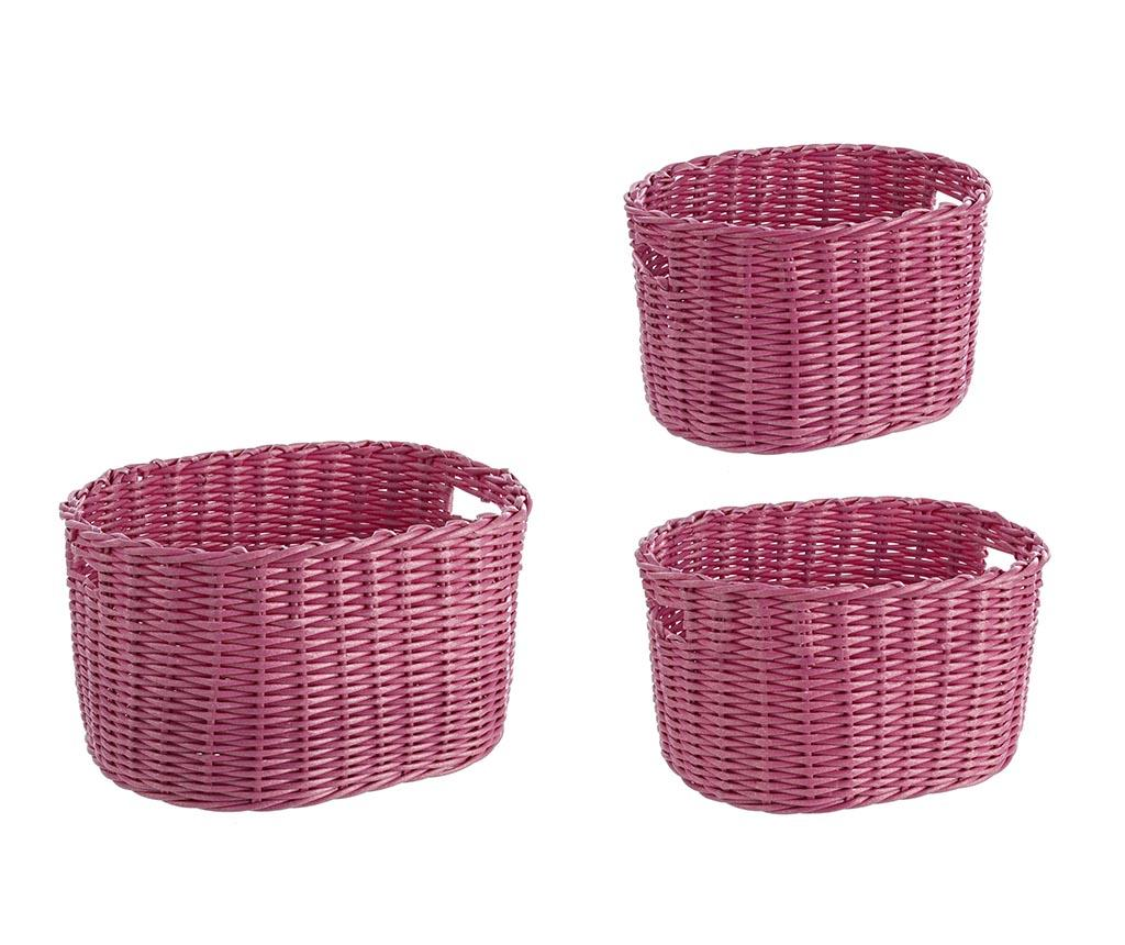 Set 3 cosuri pentru depozitare Arlene Oval Pink imagine