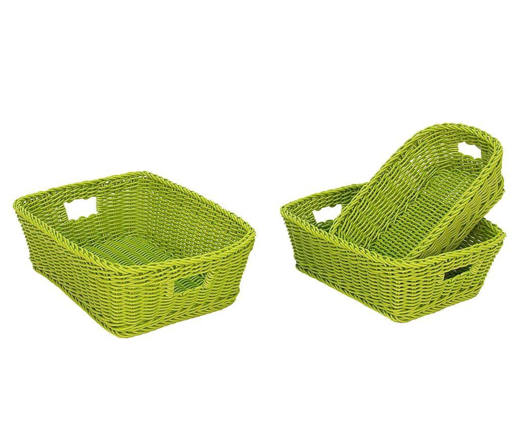 Set 3 cosuri pentru depozitare Altea Rectangular Lime - Bizzotto, Verde vivre.ro
