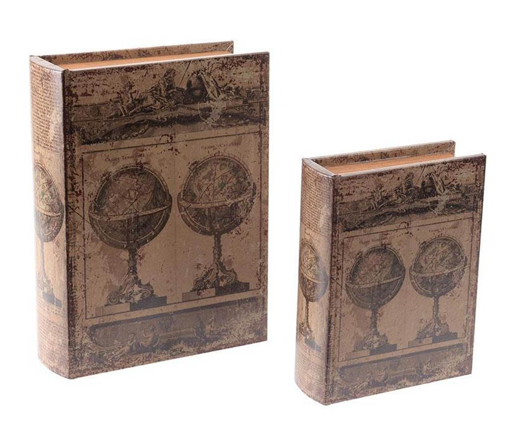 Set 2 cutii tip carte Antique Globes - inart, Maro