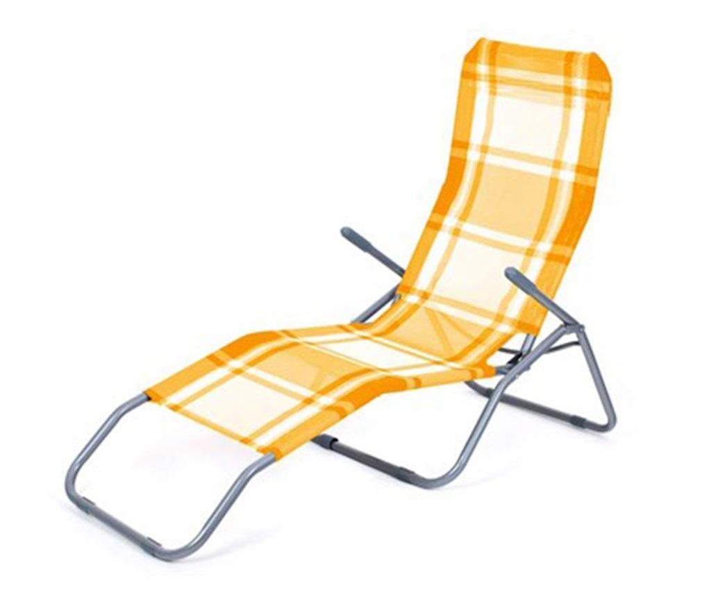 Sezlong pliabil pentru exterior Hara Orange Check
