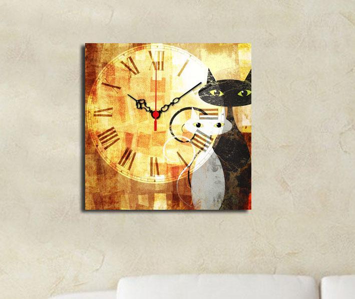 Tablou cu ceas Cats 28x28 cm