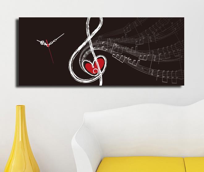 Tablou cu ceas Music Waves 30x70 cm