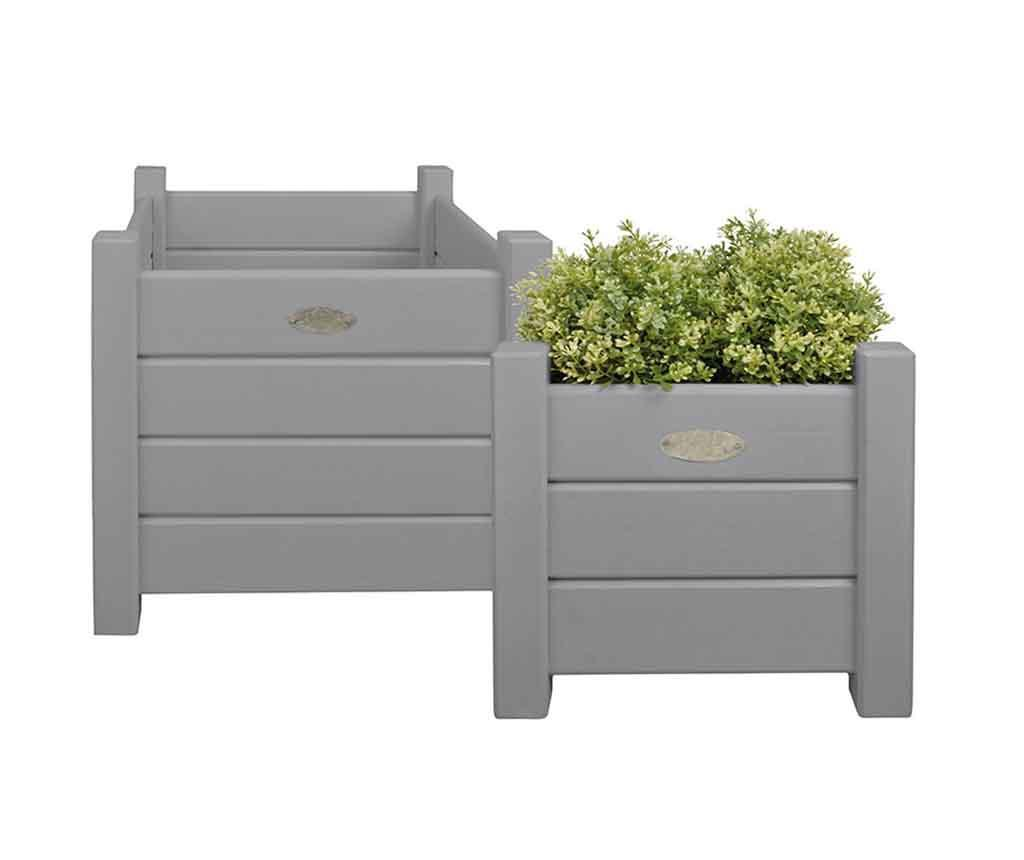 Set 2 suporturi pentru ghivece Square Grey - Esschert Design, Gri & Argintiu