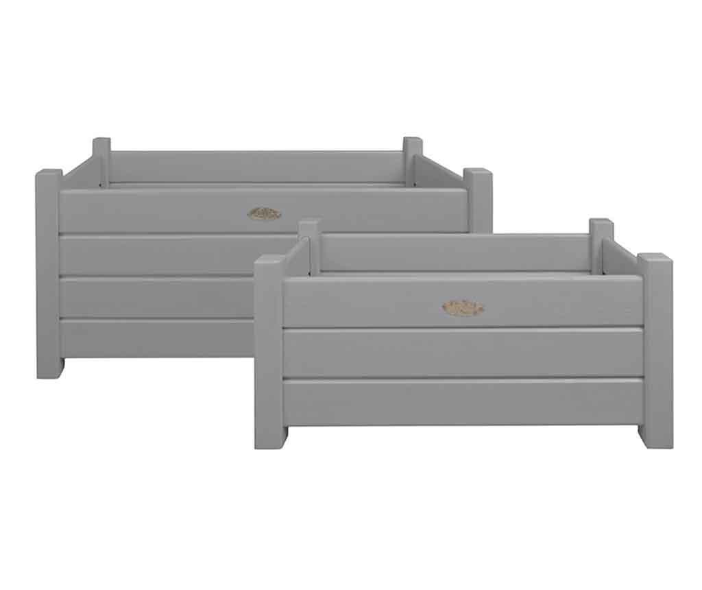 Set 2 suporturi pentru jardiniere Lasu Grey - Esschert Design, Gri & Argintiu vivre.ro