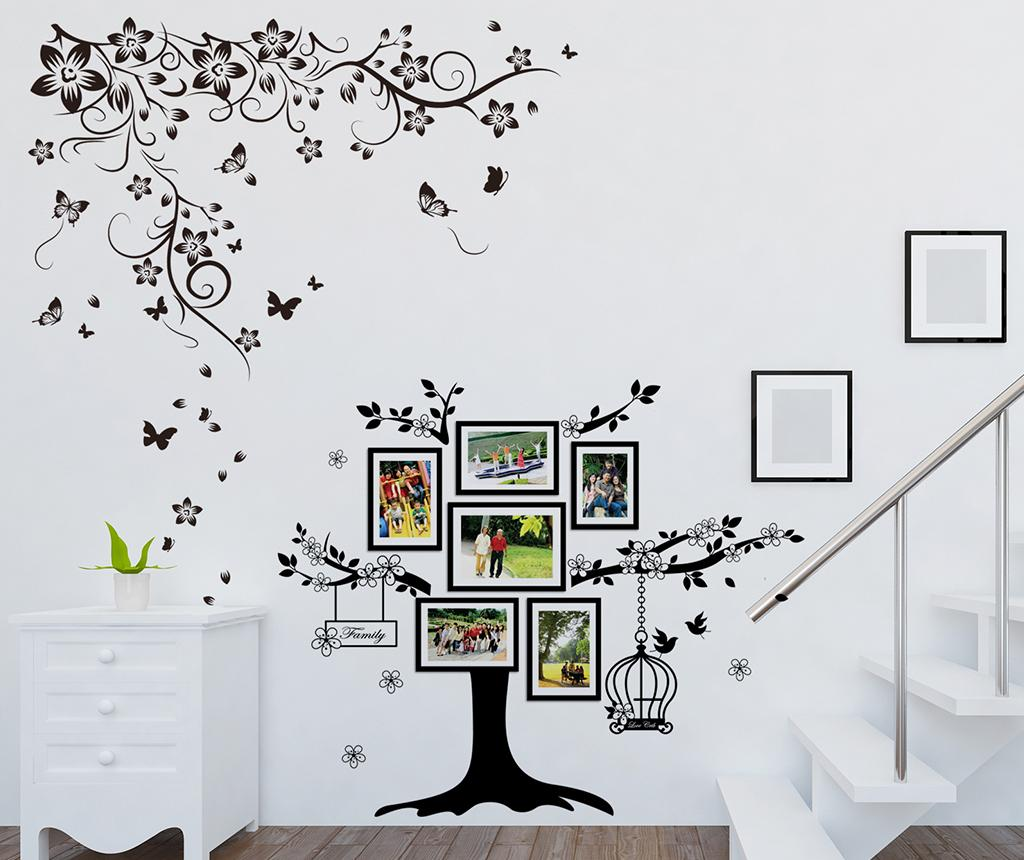 Sticker cu 6 rame foto Butterfly Vine and Photo Frame Birdcage - Wallplus, Negru imagine