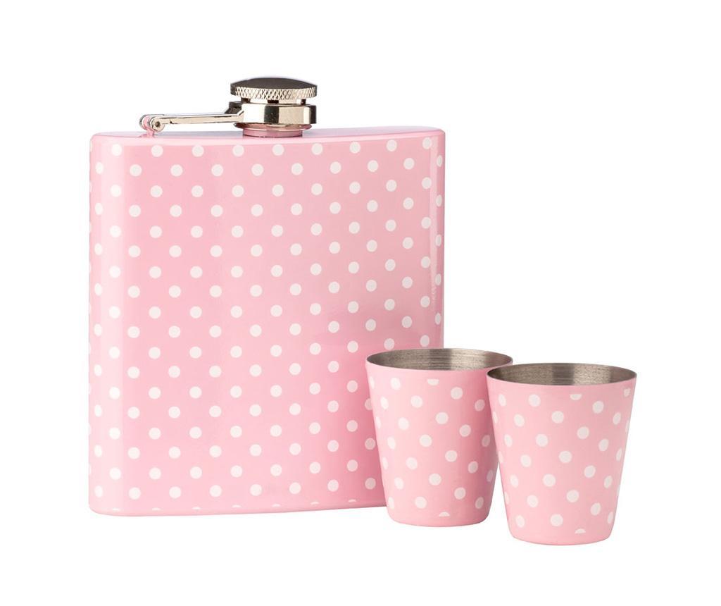 Set sticla de buzunar si 2 pahare shot Pink Polka Dots imagine