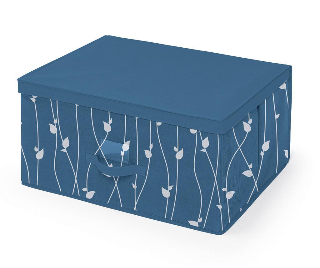 Úložná krabice s víkem Leaves Blue L