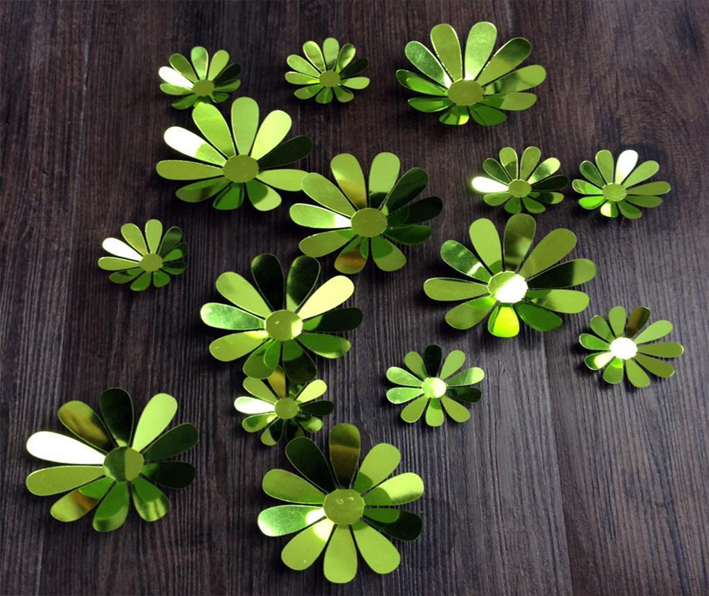 Set 12 stickere 3D Flowers Green