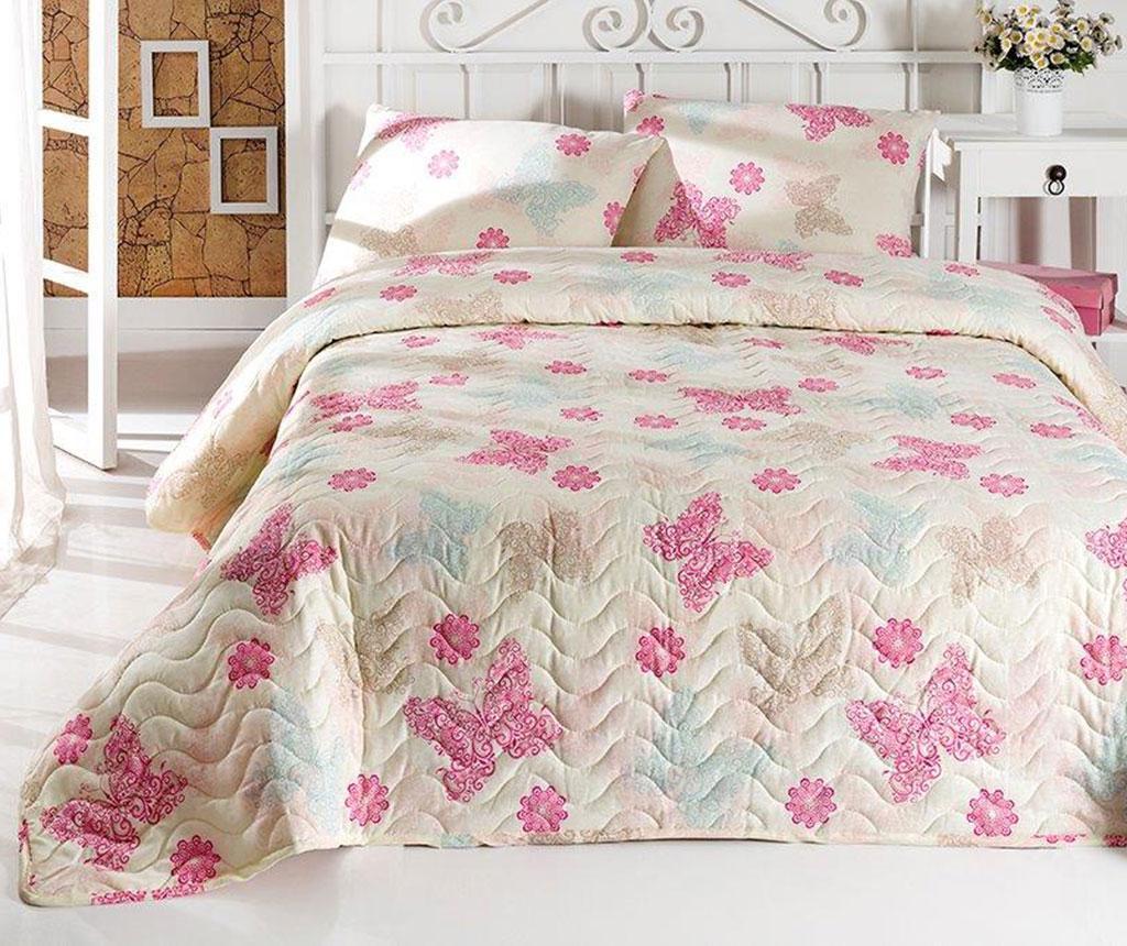 Set cuvertura matlasata Single Papillon Light Cream - Eponj Home, Crem,Roz imagine