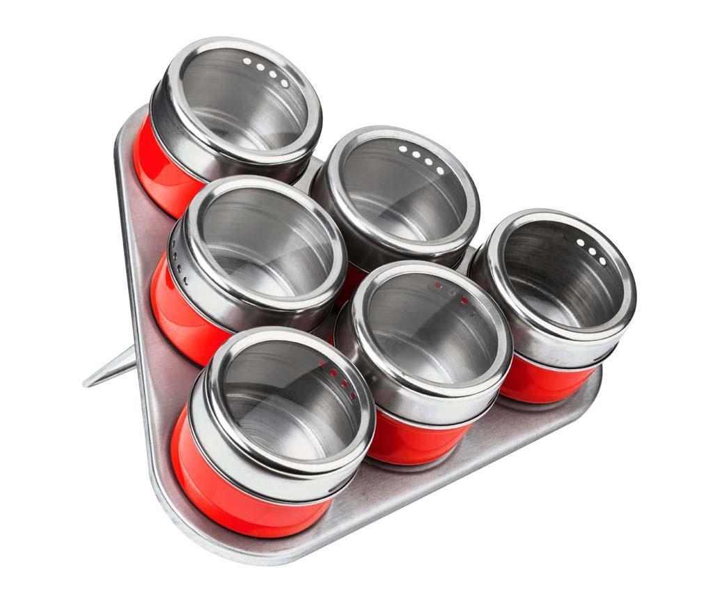 Set 6 recipiente cu capac pentru condimente si suport Cute Red imagine