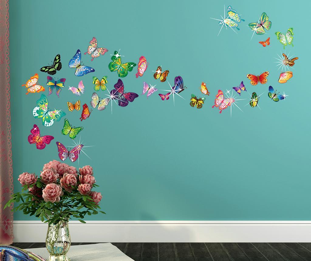 Sticker Butterflies and Swarovski - Wallplus, Multicolor imagine
