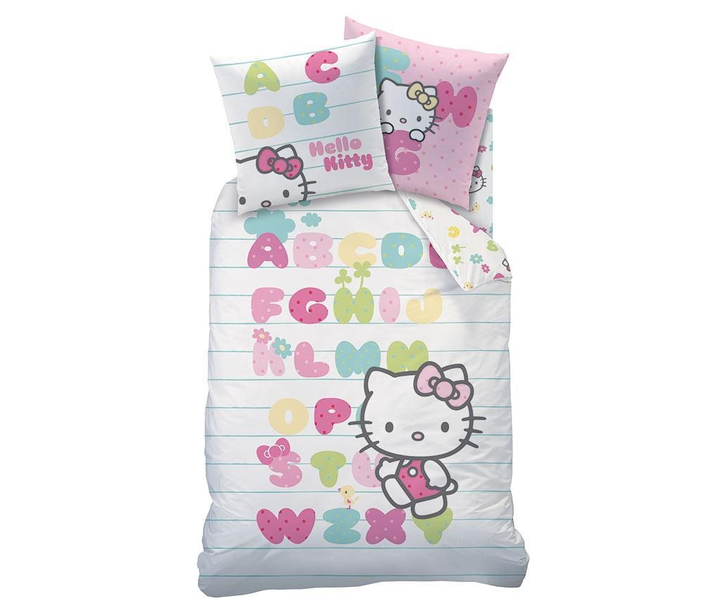 set de pat single hello kitty abecedaire 140x200 cm vivre. Black Bedroom Furniture Sets. Home Design Ideas