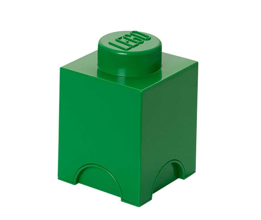 Krabice s víkem Lego Square Dark Green