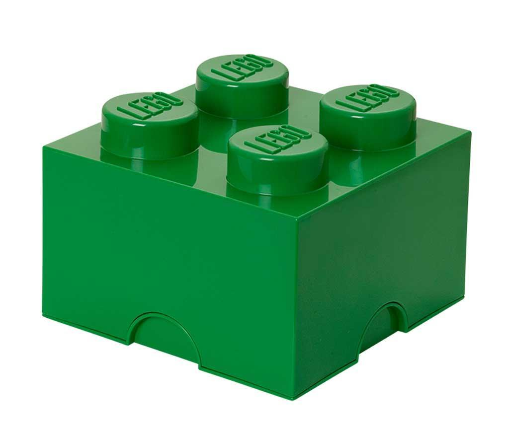 Cutie cu capac Lego Square Four Dark Green - LEGO, Verde