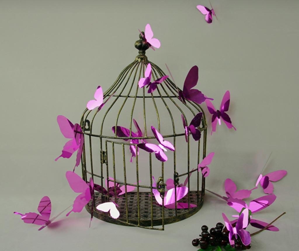 Set 12 stickere 3D Mirror Butterfly Purple