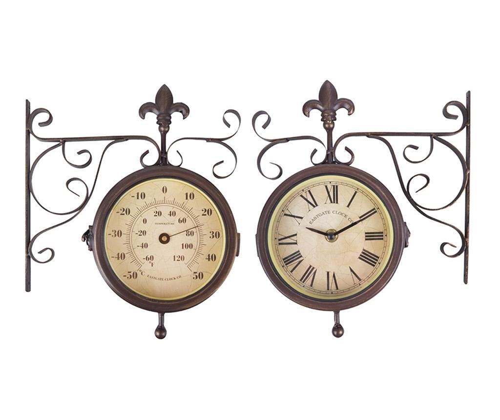 Ceas de perete pentru exterior Double Faced - Esschert Design, Maro