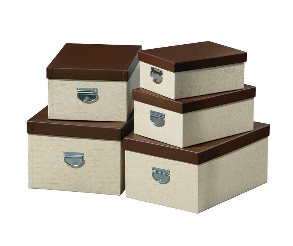 Set 5 cutii cu capac Cream Crocodile - Premier, Crem imagine