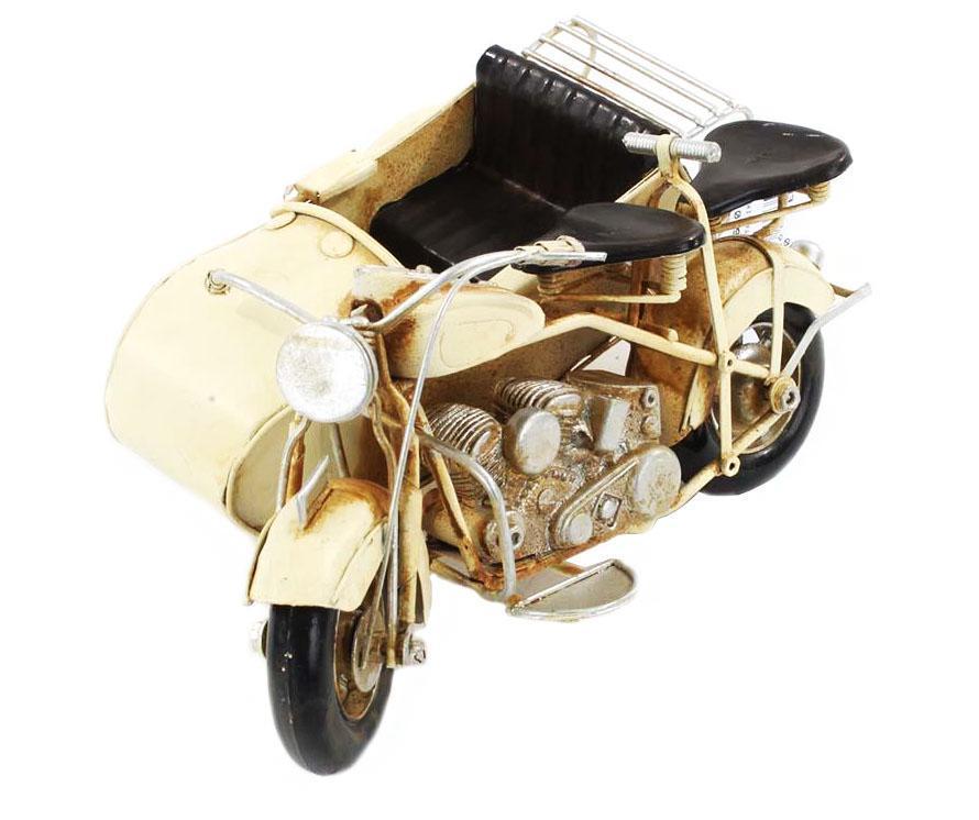 Decoratiune Vintage Beige Motorcycle - inart poza