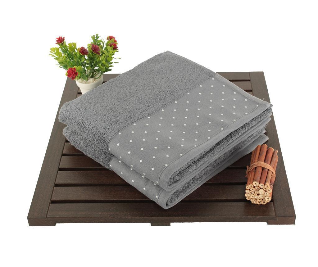 Set 2 prosoape de baie Polka Dots Grey 50x90 cm - Åžaheser, Gri & Argintiu imagine