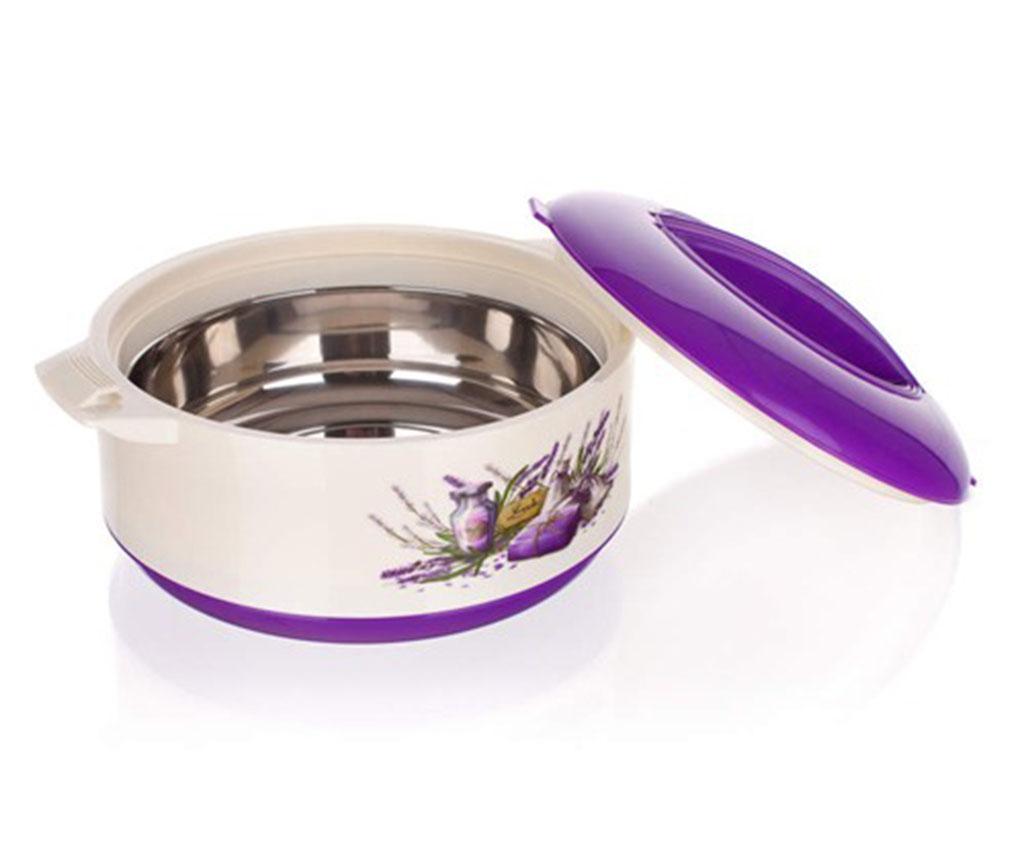 Recipient izoterm cu capac Culinaria Lavender 3.5 L - Banquet, Alb,Mov poza