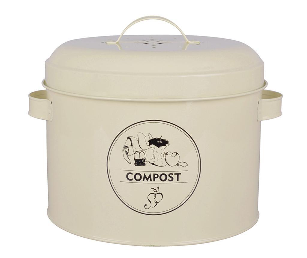 Recipient cu capac Galu Compost 6.325 L - Esschert Design, Alb