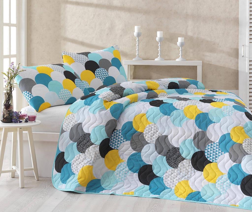 Set cuvertura matlasata Single Damla Mint - Eponj Home, Albastru,Galben & Auriu imagine