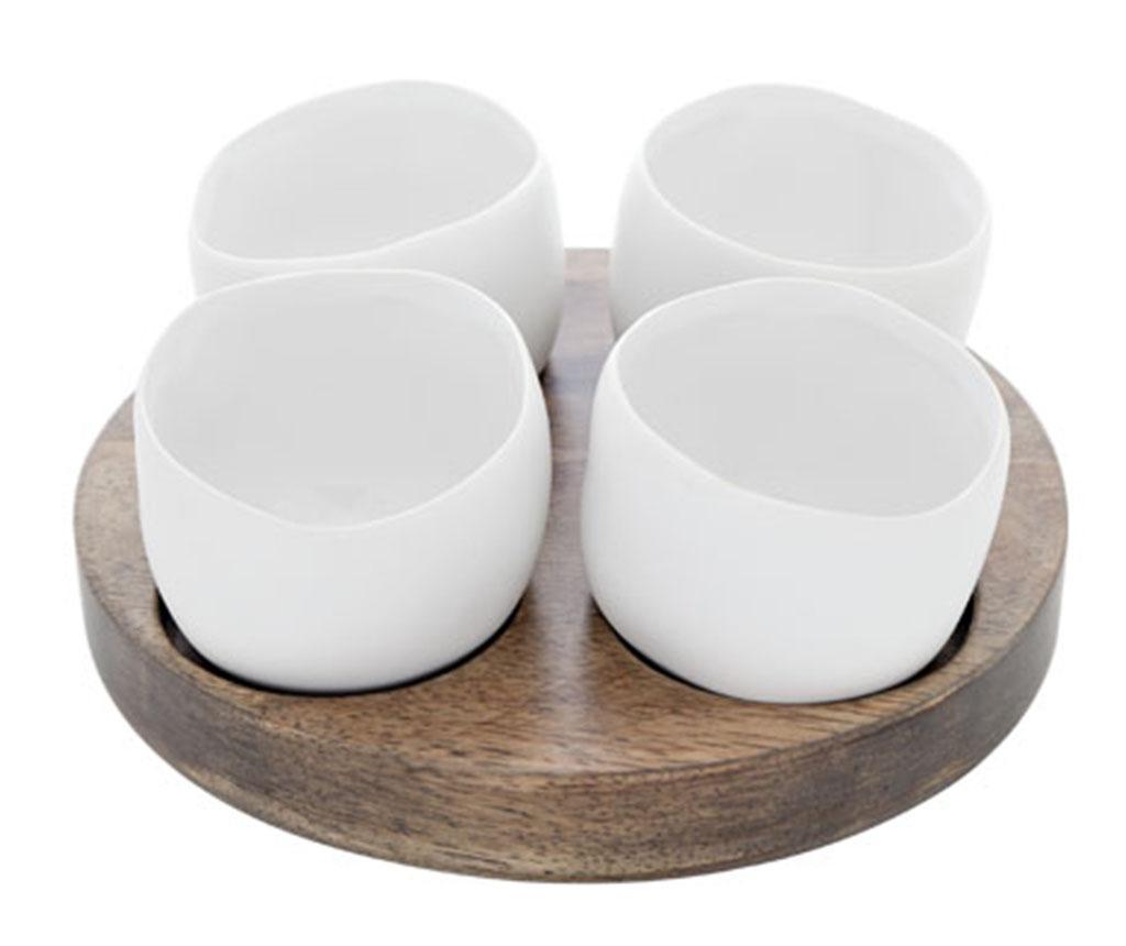 Set 4 boluri pentru aperitive si suport Bao - Cosy & Trendy, Alb vivre.ro