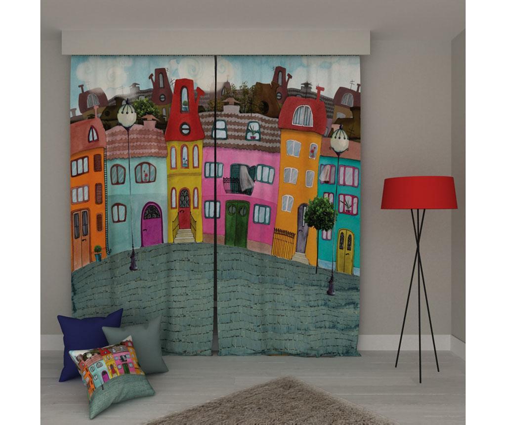 Set 2 draperii Houses 140x250 cm