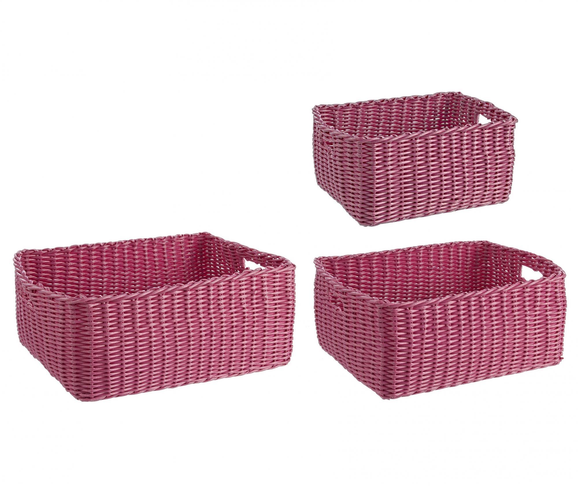 Set 3 cosuri pentru depozitare Electric Rectangular Rose - Bizzotto, Roz imagine vivre.ro