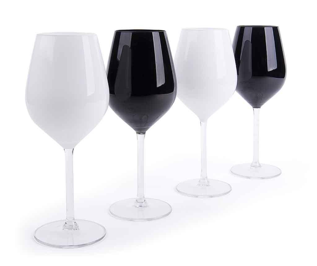 Set 4 pahare pentru vin Black & White 500 ml - Excelsa, Alb poza