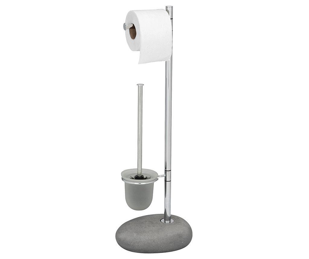 Suport pentru hartie igienica si perie de toaleta Pebble Grey - Wenko, Gri & Argintiu de la Wenko