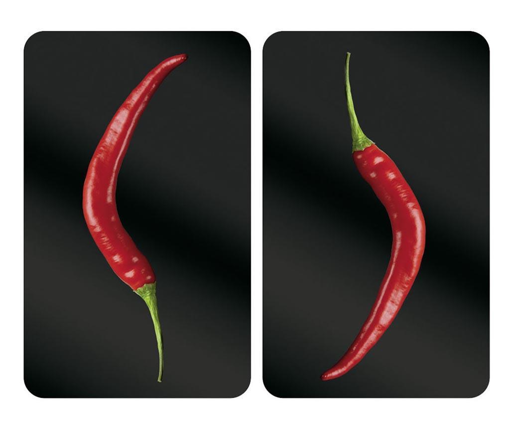 Set 2 planse protectoare pentru plita Peperoni - Wenko, Negru imagine