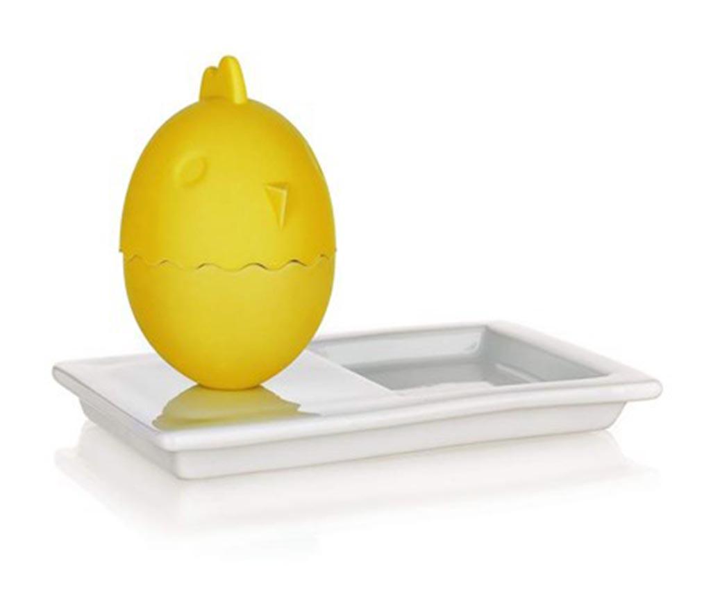 Set suport cu capac pentru ou fiert si farfurie Plus Yellow