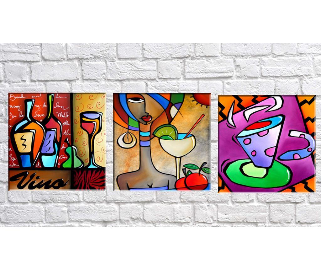 Set 3 tablouri 3D Vino 30x30 cm - Tablo Center, Multicolor imagine