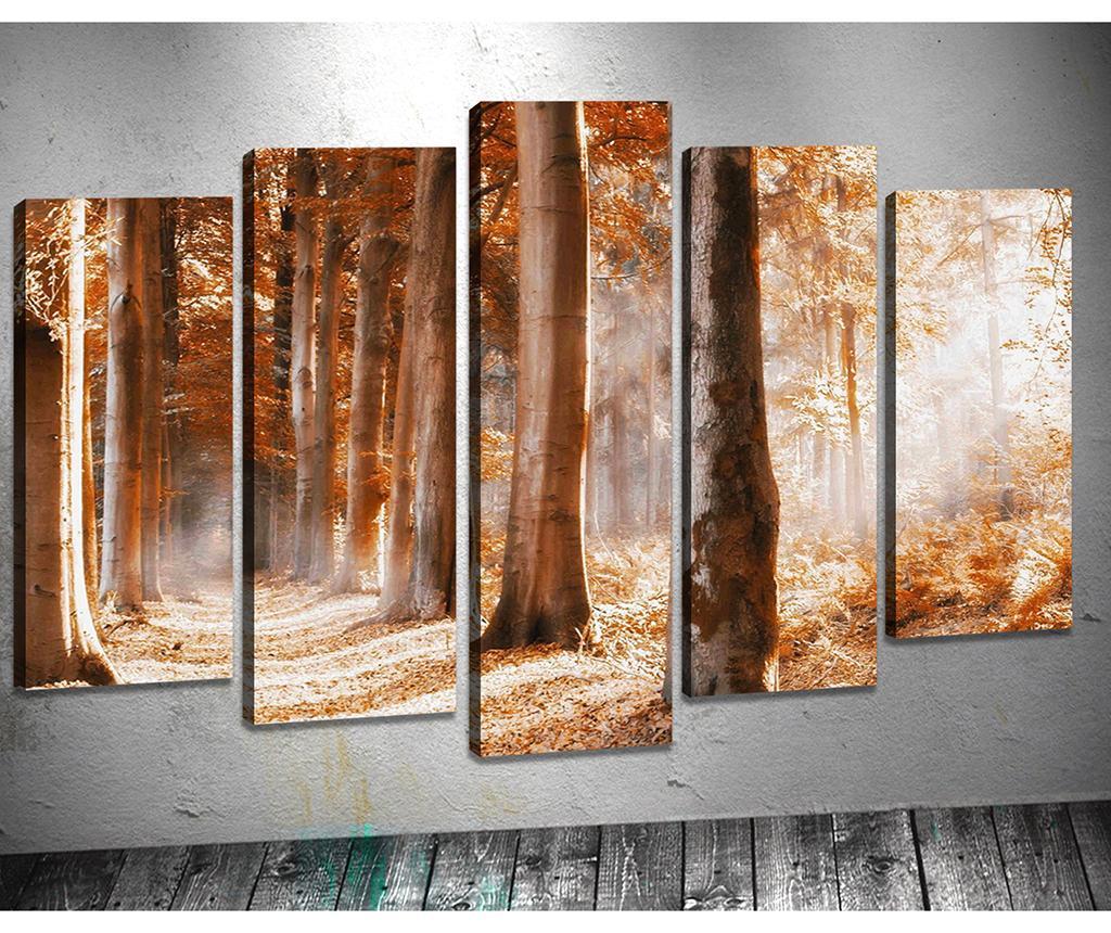 Set 5 tablouri 3D Old Autumn - Tablo Center, Galben & Auriu imagine