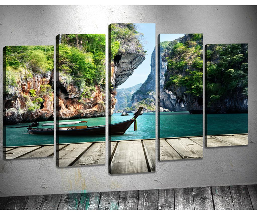 Set 5 tablouri 3D Rock - Tablo Center, Verde imagine